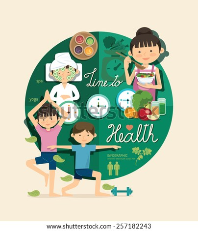 Boy and girl time to health and beauty design infographic,people learn concept vector illustration