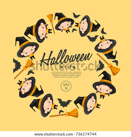 Boy and girl wearing Halloween fancy hat : Vector Illustration #736174744
