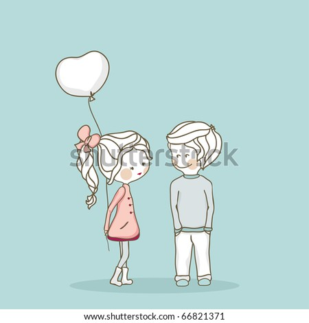 boy and girl with balloon