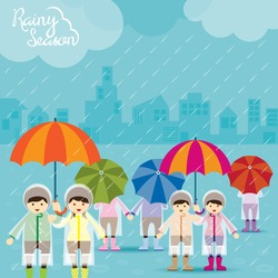 Boy and Girl with Umbrella Rainy Season, Monsoon