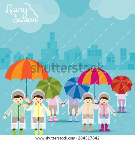 Boy And Girl With Umbrella Rainy Season , Monsoon, Rain ...