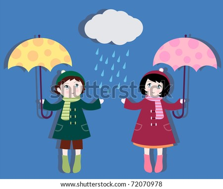 boy and girl with umbrellas