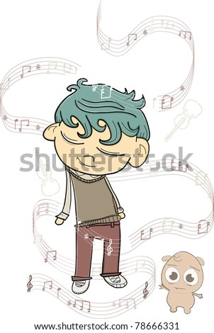 boy and monster listening to music