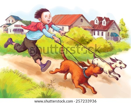boy and two dog  labrador