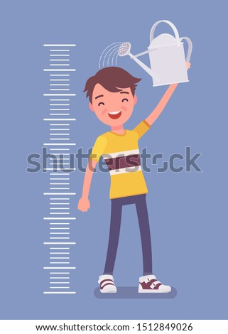 Boy at child height growth chart with watering can. Happy schoolboy pouring water over his head to grow bigger, older and taller, kid developing into teenager. Vector flat style cartoon illustration Foto stock ©