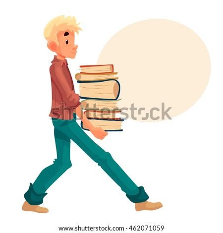 boy carrying a pile of books