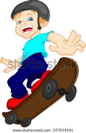 boy cartoon playing skateboard