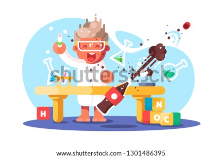Boy chemist and kids future dream professional occupation. Happy guy doing research science experiment with tube in lab vector illustration. Young generation concept. Isolated on white background