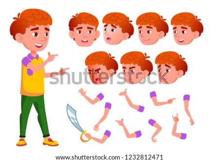 Boy, Child, Kid, Teen Vector. Smile. Cute. Happiness Enjoyment. Face Emotions, Various Gestures. Red Head. Animation Creation Set. Isolated Flat Cartoon Character Illustration