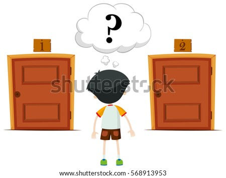 boy choosing doors between one