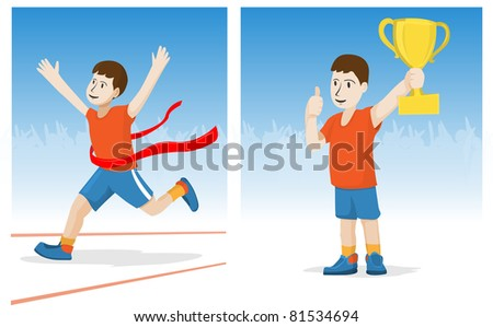 Boy crossing the finish ribbon and a teenager with a golden cup in hand