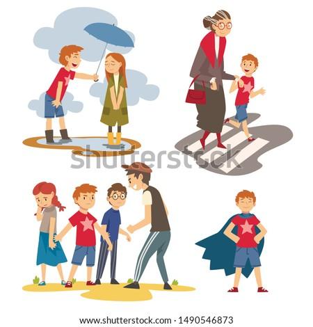 Boy Defending Little Kids, Helping Old Senior Woman to Cross Road, Polite, Brave Kids Set, Good Manners Vector Illustration