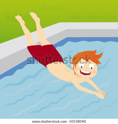Pool Diving Clipart Boy Diving Into The Pool