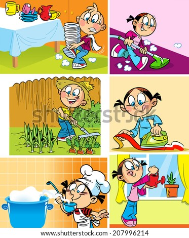 Clothes vacuuming the floor and watering flowers stock vector
