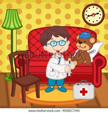 boy doctor  treats  teddy bear