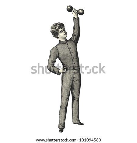 boy doing weight training  ...