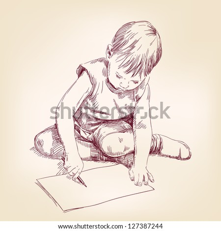 boy draws on the floor hand drawn vector illustration