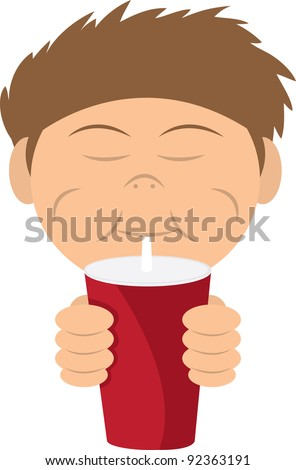 Boy drinking a soda or shake from straw