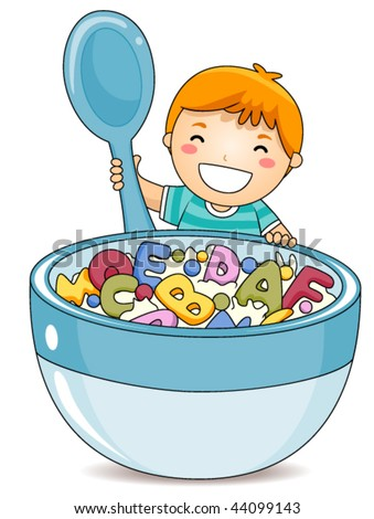 Boy eating Alphabet Cereals - Vector