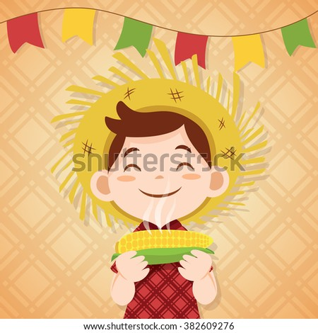boy eating boiled corn in