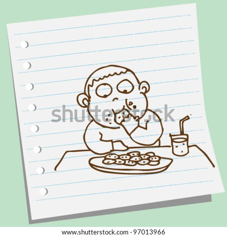 boy eating cookie doodle illustration vector