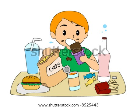 Eating Junk Foods Drawing Boy Eating Junk Food Vector