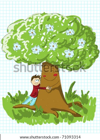 Boy embracing a tree - the concept of environmental protection