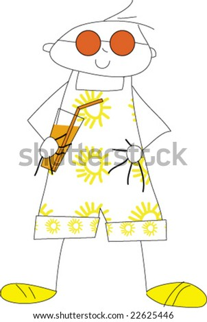 Boy enjoys the sun with a cool drink and sunglasses - stock vector