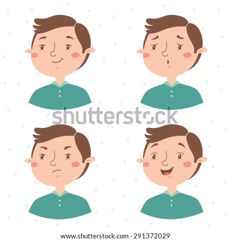 Boy facial expressions vector set. Emotions. Satisfied, sad, angry, happy.