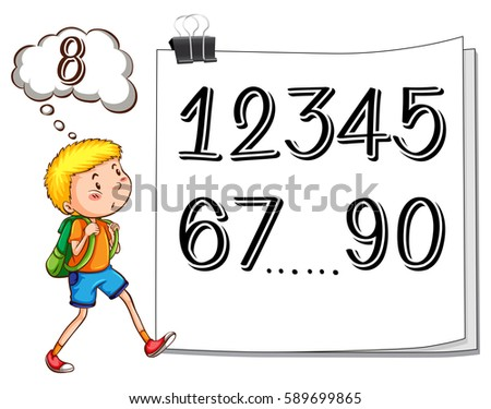 boy finding missing number on