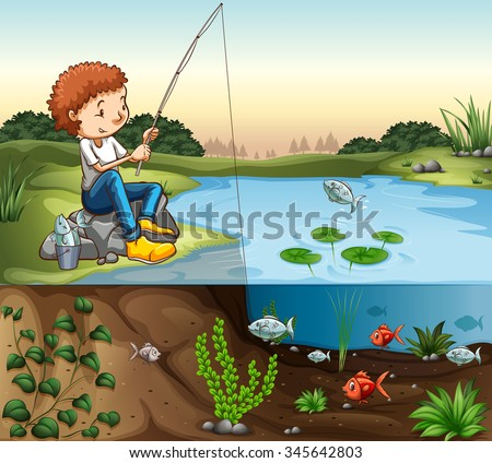 boy fishing by the river