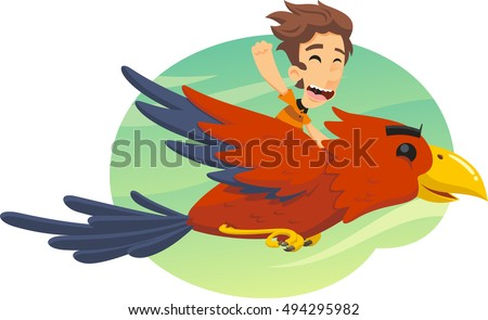 Shutterstock boy flying on giant bird