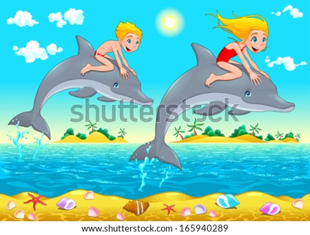 boy  girl and dolphin in the