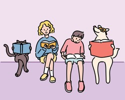 Boy, girl, dog, cat Friends are sitting together and reading a book. hand drawn style vector design illustrations.