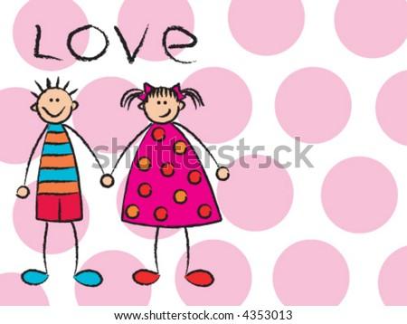 Cartoon Girl And Boy Love. stock vector : oy + girl