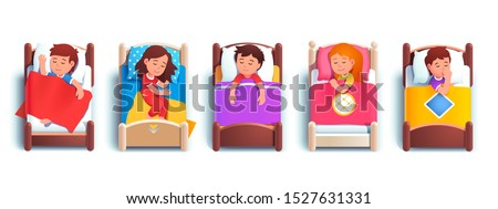 Boy & girls kids sleeping in kindergarten beds or at home. Happy smiling children cartoon characters resting & lying in beds under blankets. Childhood, bedtime & rest. Flat vector illustration