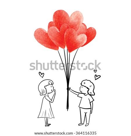 boy give heart balloon