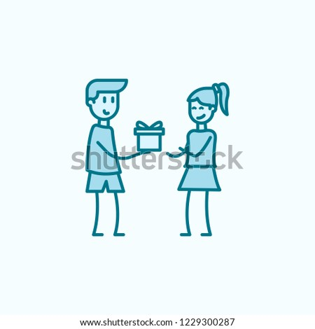 boy gives a gift to girl 2 colored line icon. Simple colored element illustration. boy gives a gift to girl outline symbol design from friendship set