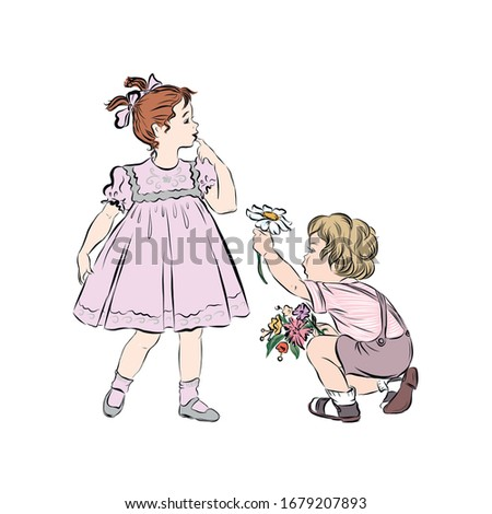 boy gives flowers to a shy girl