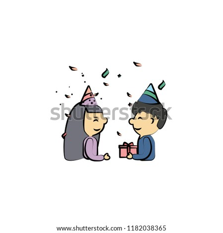 boy gives gift to girl colored icon. Element of birthday icon for mobile concept and web apps. Color boy gives gift to girl icon can be used for web and mobile on white background