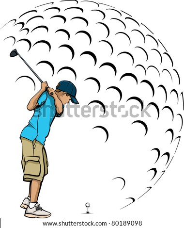 Boy Golfing in Front of a Stylized Golf Ball