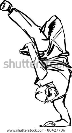 Boy guy dancing breakdance - stock vector