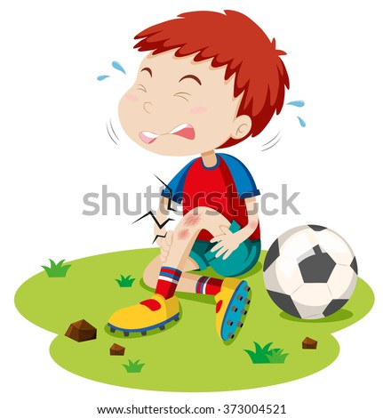 boy having graze from playing