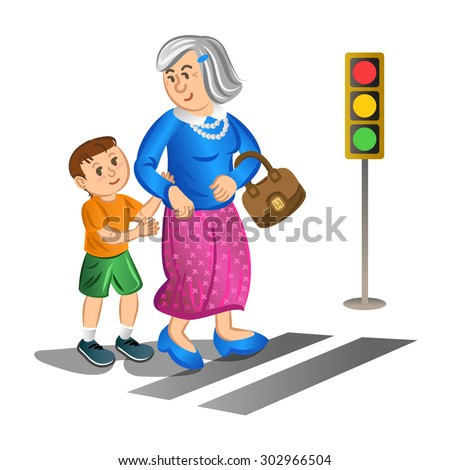 boy helping old lady cross the