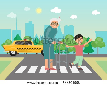 Boy helps to grandma across the road vector illustration. Little child and grandmother on the crosswalk. Boys helping to old people