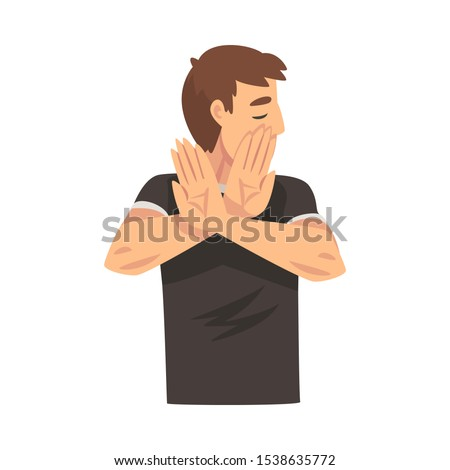 Boy holds arms crossed in front of his saying stop cartoon vector illustration