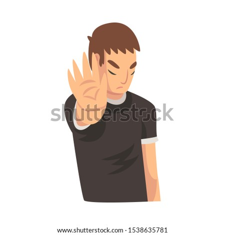 Boy holds palm in front of his saying stop cartoon vector illustration