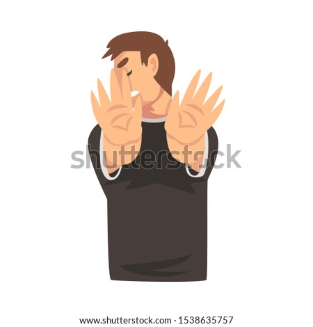 Boy holds palms in front of his cartoon vector illustration