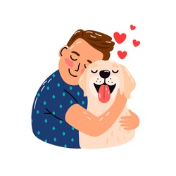 Boy hug dog. Young man hugging puppy with love, cozy relaxing friendship of man and pet, sketch with red hearts isolated on white background, vector illustration