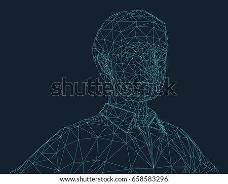 boy illustration in wire frame style